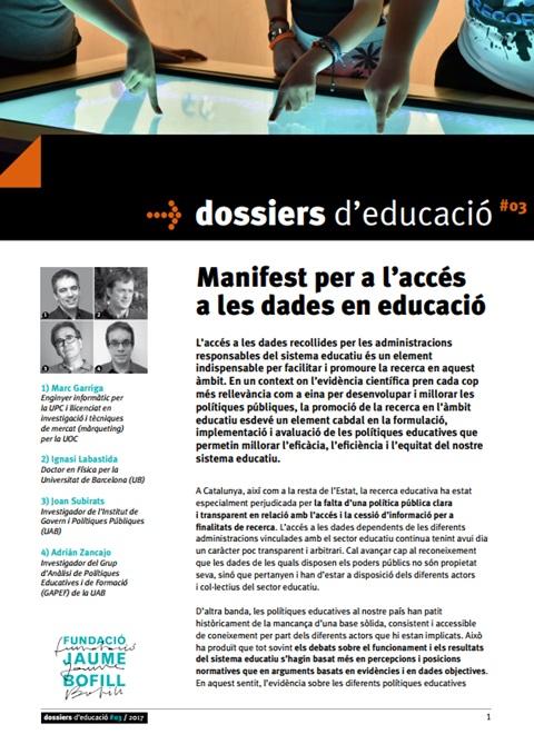 Manifest per a l'accés a les dades en educació
