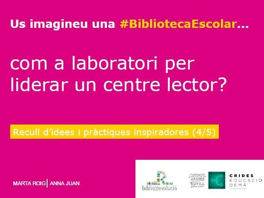Us imagineu una BE com a laboratori per promoure i liderar un centre lector?