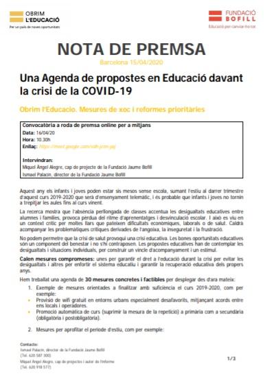 Nota de premsa: una agenda de propostes en Educació davant la crisi de la COVID_19