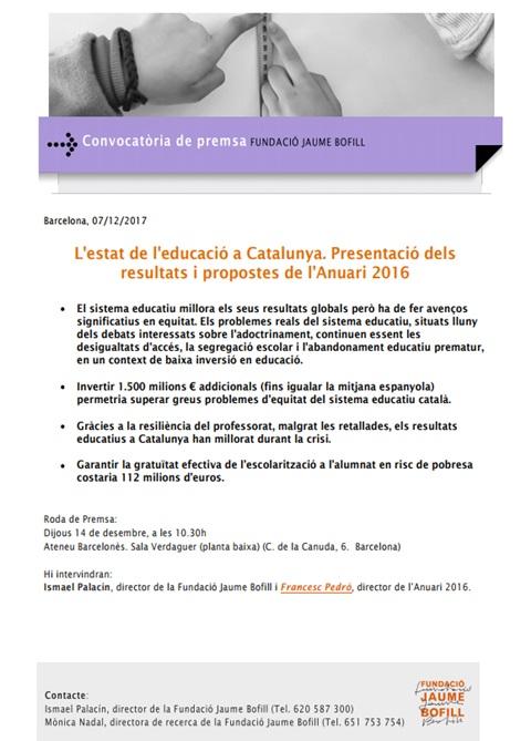 Convocatòria de premsa. L'estat de l'educació a Catalunya. Presentació dels resultats i propostes de l'Anuari 2016