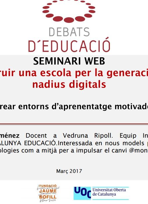 Presentació: Construir una escola per la generació de nadius digitals, Montse Jiménez