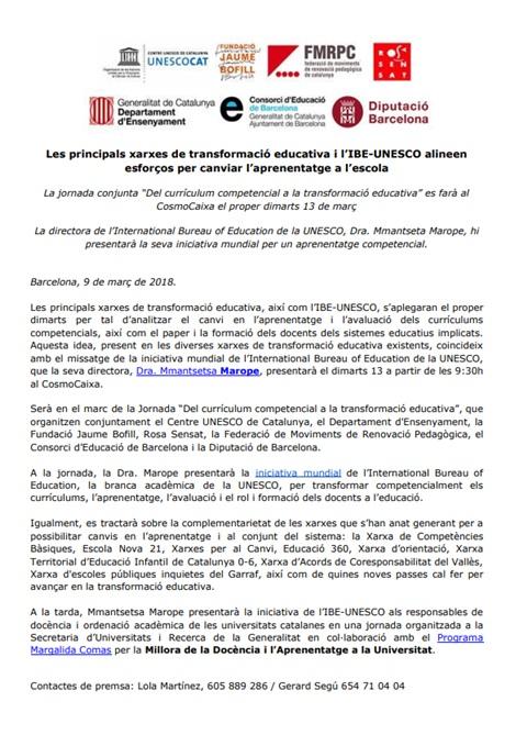 Nota de premsa: Les principals xarxes de transformació educativa i l'IBE-UNESCO alineen esforços per canviar l'aprenentatge a l'escola