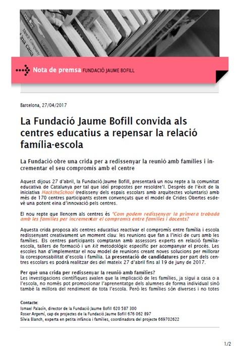 Nota de premsa: La Fundació Jaume Bofill convida als centres educatius a repensar la relació família-escola