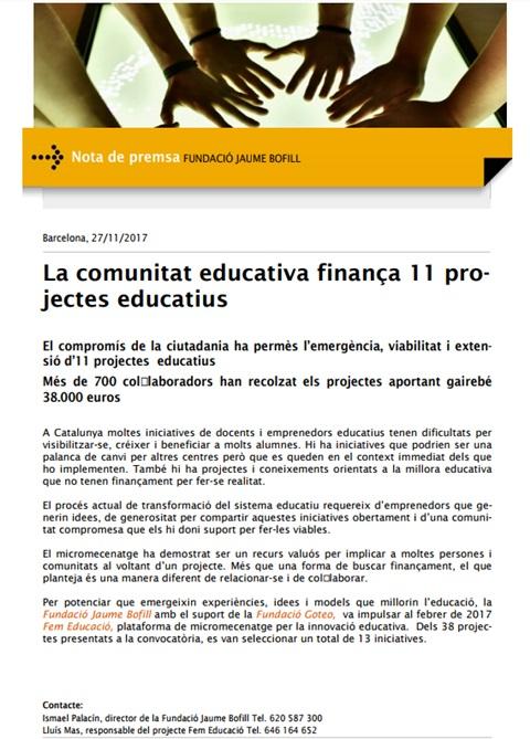 Nota de premsa: La comunitat educativa finança 11 projectes educatius