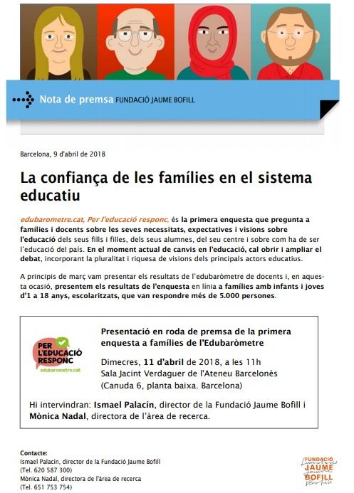 Nota de premsa. La confiança de les famílies en el sistema educatiu
