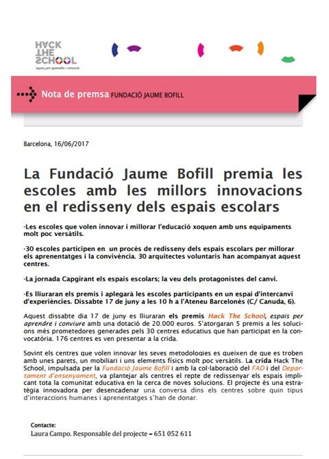 Nota de premsa: La Fundació Jaume Bofill premia les escoles amb les millors innovacions en el redisseny dels espais escolars