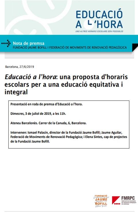 Nota de premsa: Educació a l'hora