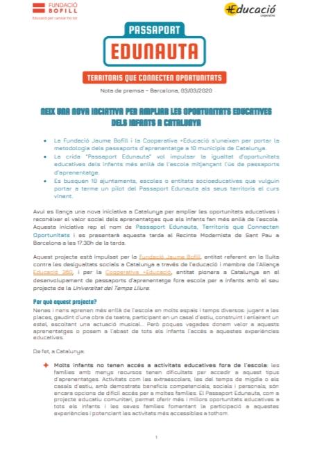 Nota de premsa: Passaport Edunauta
