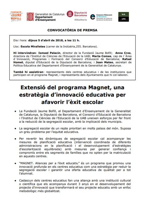 Nota de premsa. Extensió del programa Magnet, una estratègia d'innovació educativa per afavorir l'èxit escolar
