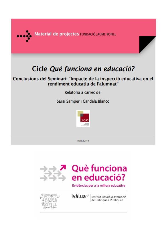 """Conclusions del Seminari: """"Impacte de la inspecció educativa en el rendiment educatiu de l'alumnat"""""""