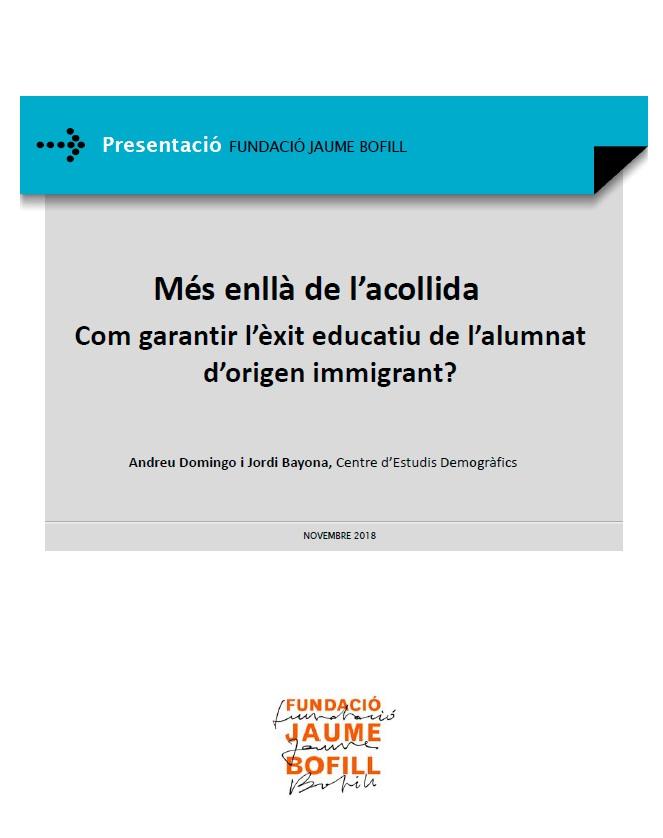 Presentació: Més enllà de l'acollida. Com garantir l'èxit educatiu de l'alumnat d'origen immigrant?