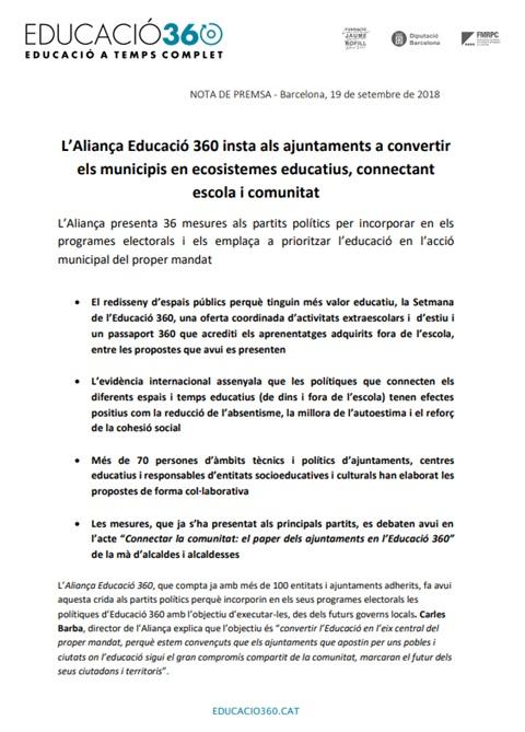 Nota de premsa: L'Aliança Educació 360 insta als ajuntaments a convertir els municipis en ecosistemes educatius, connectant escola i comunitat