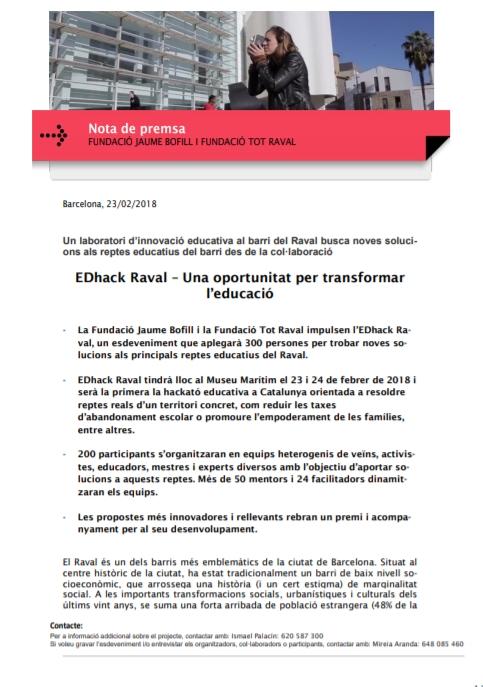 Nota de premsa: EDhack Raval – Una oportunitat per transformar l'educació