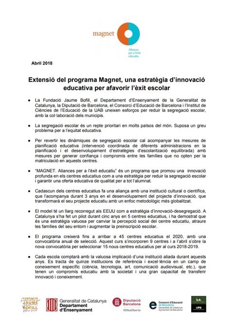 Extensió del programa Magnet, una estratègia d'innovació educativa per afavorir l'èxit escolar