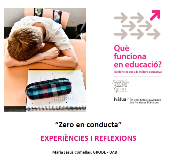 """Presentació. """"Zero en conducta"""": experiències i reflexions"""
