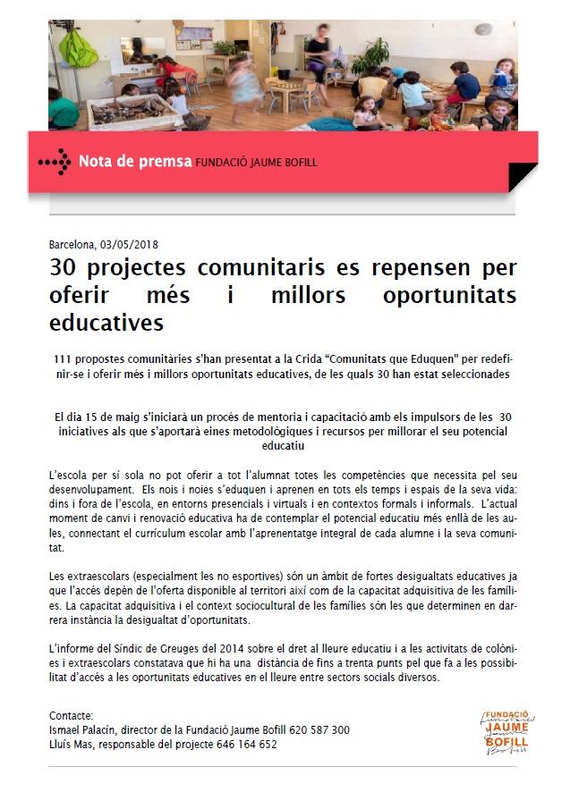 Nota de premsa: 30 projectes comunitaris es repensen per oferir més i millors oportunitats educatives