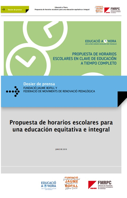 Dosier de prensa. Propuesta de horarios escolares para una educación equitativa e integral