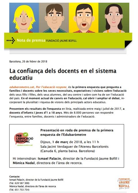 Nota de premsa: La confiança dels docents en el sistema educatiu