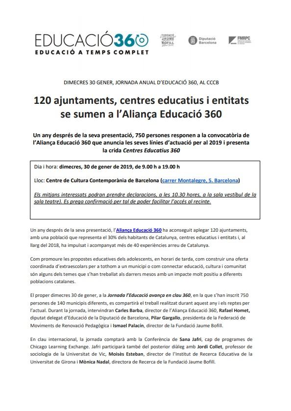 120 ajuntaments, centres educatius i entitats se sumen a l'Aliança Educació 360