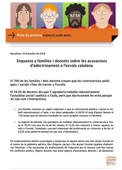 Nota de premsa: Enquesta a famílies i docents sobre les acusacions d'adoctrinament a l'escola catalana.