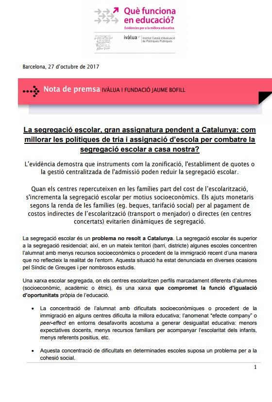 Nota de premsa: Ivàlua i la Fundació Jaume Bofill
