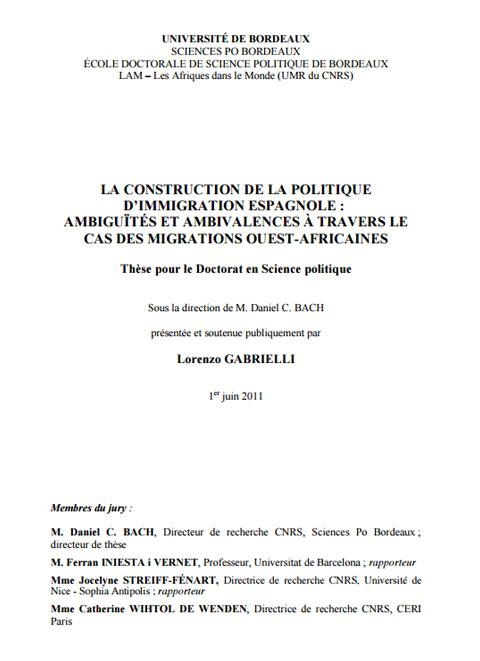 La construction de la politique d'immigration espagnole: ambiguïtés et ambivalences à travers le cas des migrations ouest-africaines