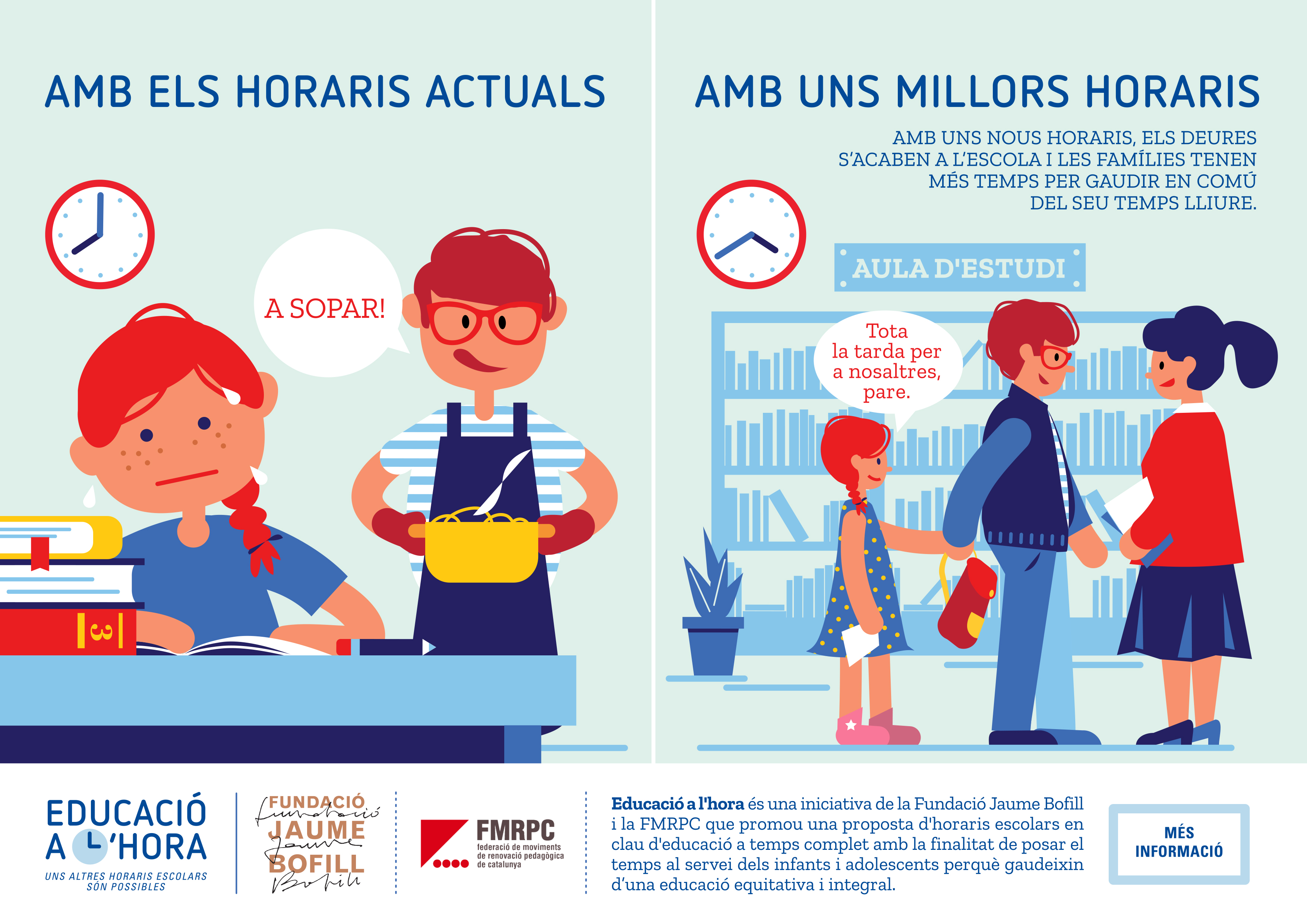 Amb uns nous horaris, els deures s'acaben a l'escola i les famílies tenen més temps per gaudir en comú del seu temps lliure