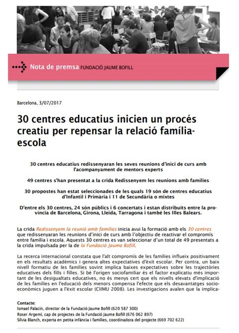 Nota de premsa: 30 centres educatius inicien un procés creatiu per repensar la relació família-escola