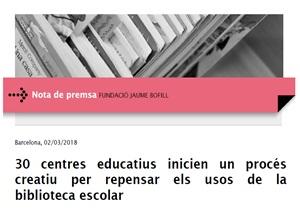 Nota de premsa: 30 centres educatius inicien un procés creatiu per repensar els usos de la biblioteca escolar