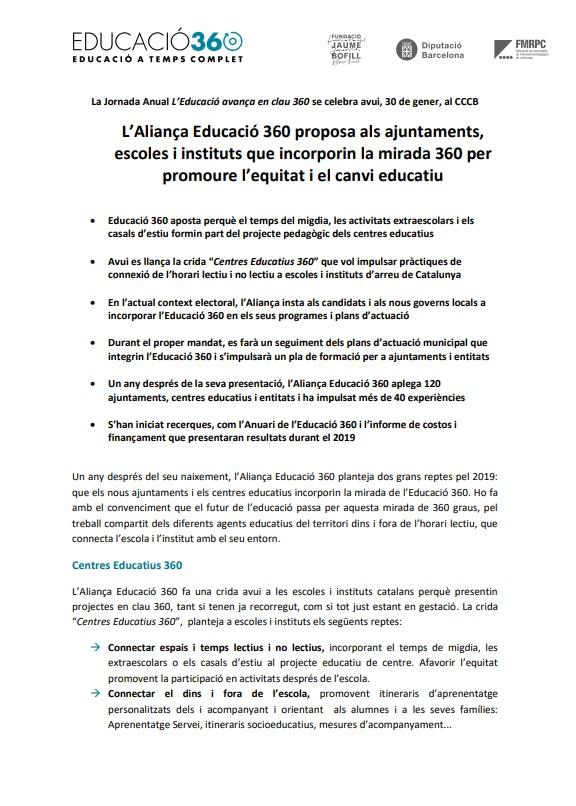 Nota de premsa: La Jornada Anual L'Educació avança en clau 360 se celebra avui, 30 de gener, al CCCB