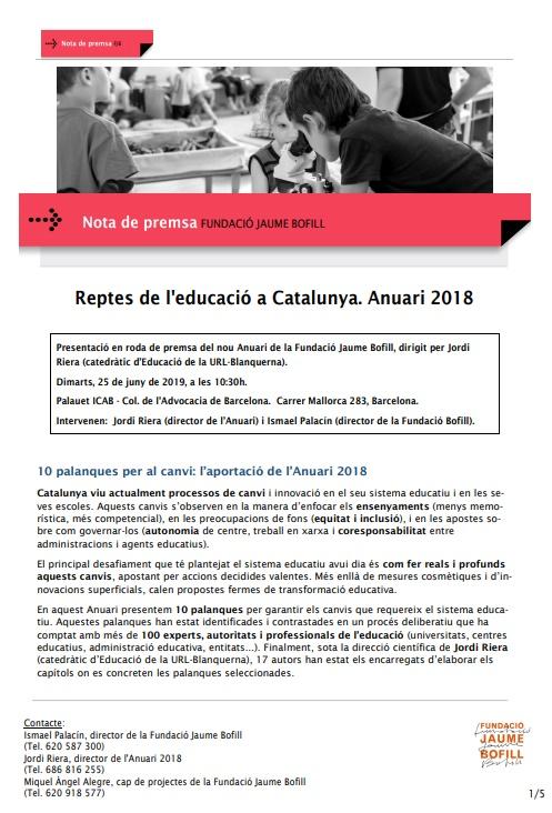 Nota de premsa: Reptes de l'educació a Catalunya. Anuari 2018