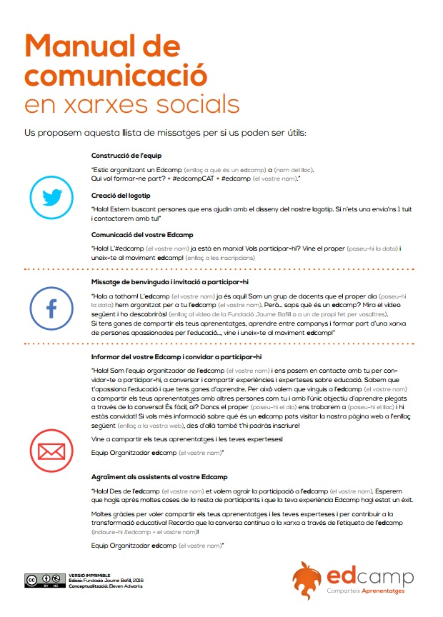 Manual de comunicació Edcamp. Xarxes socials