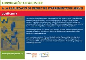 Convocatòria d'ajuts per a la realització de projectes d'Aprenentatge Servei