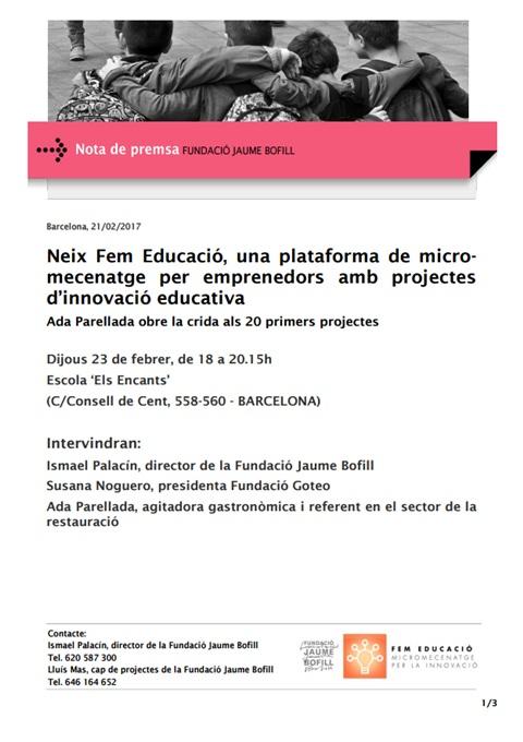 Nota de premsa: Neix Fem Educació, una plataforma de micromecenatge per emprenedors amb projectes d'innovació educativa