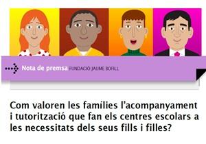 Nota de premsa: Com valoren les famílies l'acompanyament i tutorització que fan els centres escolars a les necessitats dels seus fills i filles?